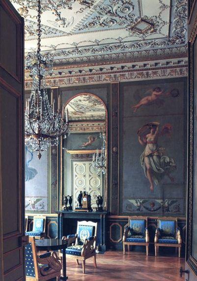 French blue silk chairs ! @Douglas Girton Houses of Paris