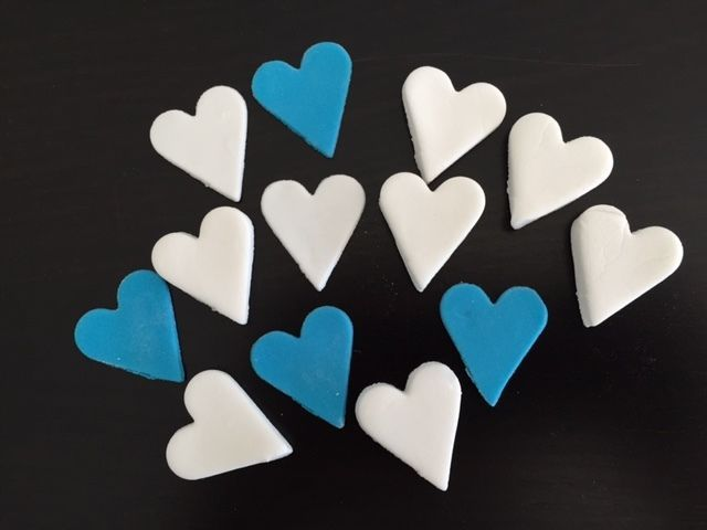 50 Edible Fondant Heart Cake or Cupcake Toppers Birthday Party, Wedding