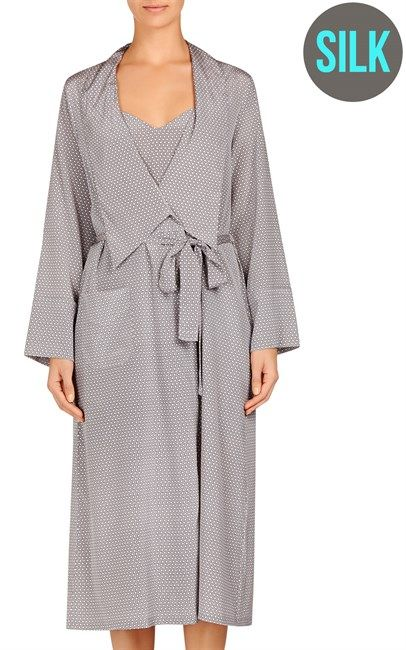 Ozsale - Dove Grey Dotty Print Silk Ellie Leaping Long Robe by Stella McCartney was $399.95 and is now down to $165!