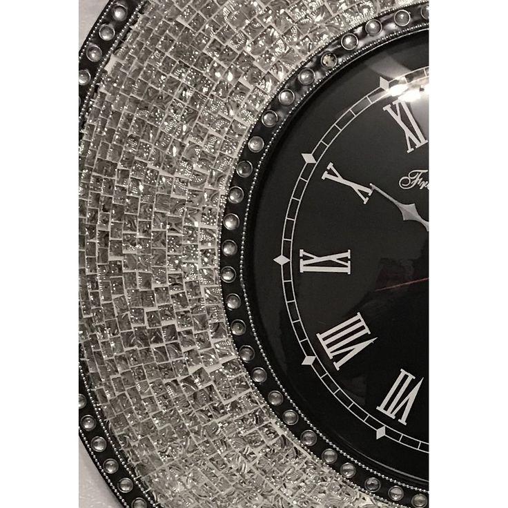 """DecorShore Verre en relief luxe mosaïque mécanique 23"""" horloge murale"""
