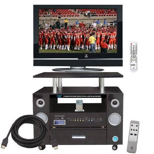 """32"""" Hi-Definition LCD Flat Panel TV + LCD TV Cabinet Dual Channel Home Theater System with iPod Docking Station + 6Ft. High Definition HDMI Cable"""