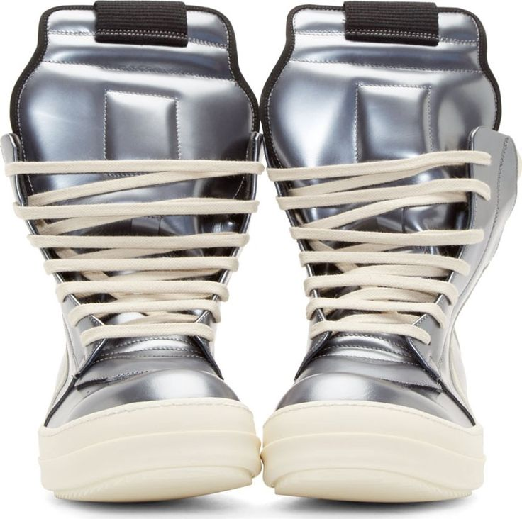 Rick Owens Silver Leather High-Top Geobasket Sneakers