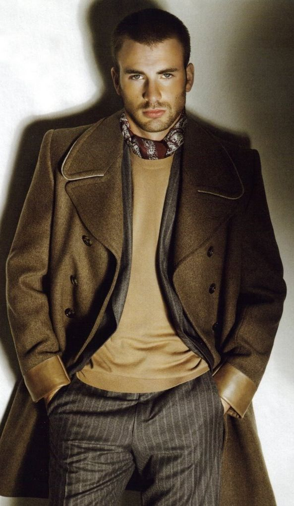 Menswear-Trench Coat-Fashion Chris Evans.... Totally posting because of the coat ;-)