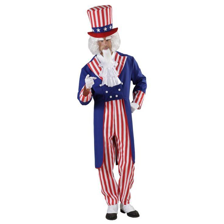Ce déguisement de l'oncle Sam des Etats-Unis d'Amérique se compose d'une veste, d'une chemise avec jabot, d'un pantalon et d'un chapeau. Disponible en taille S, M, L ou XL. La veste est de couleur bleue, c'est un modèle redingote, le col et les manches ra