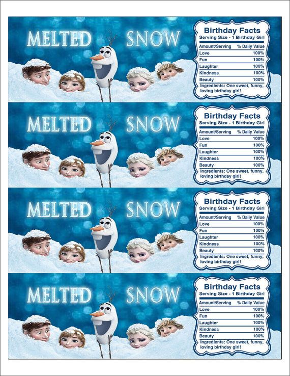 Instant Download Disney Frozen Printable Water Bottle Label, Birthday Water Bottle Label, Melted Snow Frozen Label
