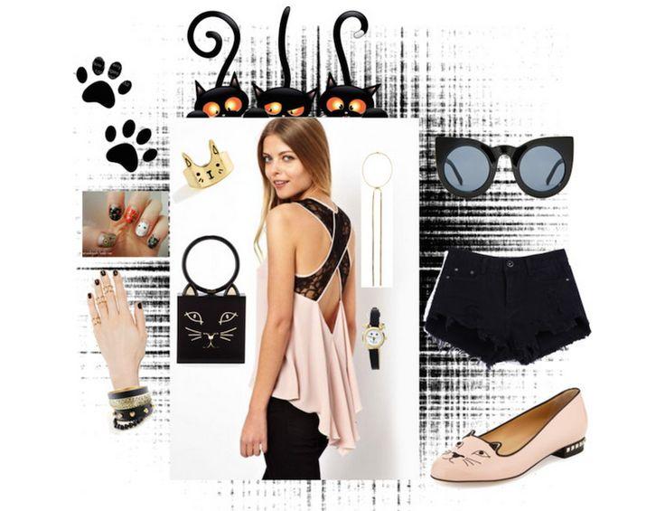 Cat-Themed Accessories Chiffon Top – Denim Shorts Combine