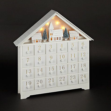 Buy John Lewis Croft Collection White Wooden LED Advent House Online at johnlewis.com