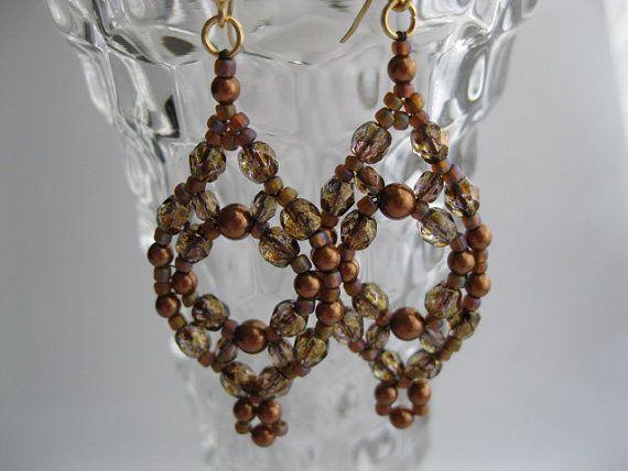Swarovski pearl and copper luster earrings by BeadALittleDream, $16.00