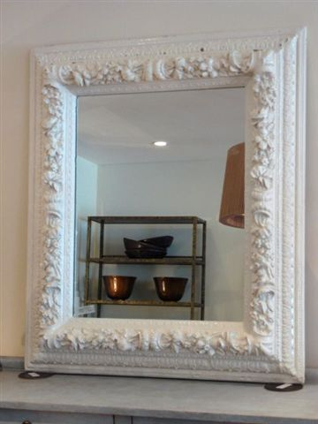 White wood, Painted mirrors and Mirror on Pinterest