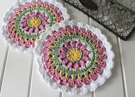 Crochet Mandala Doilies Set of Two by threadbarehandmadeau on Etsy