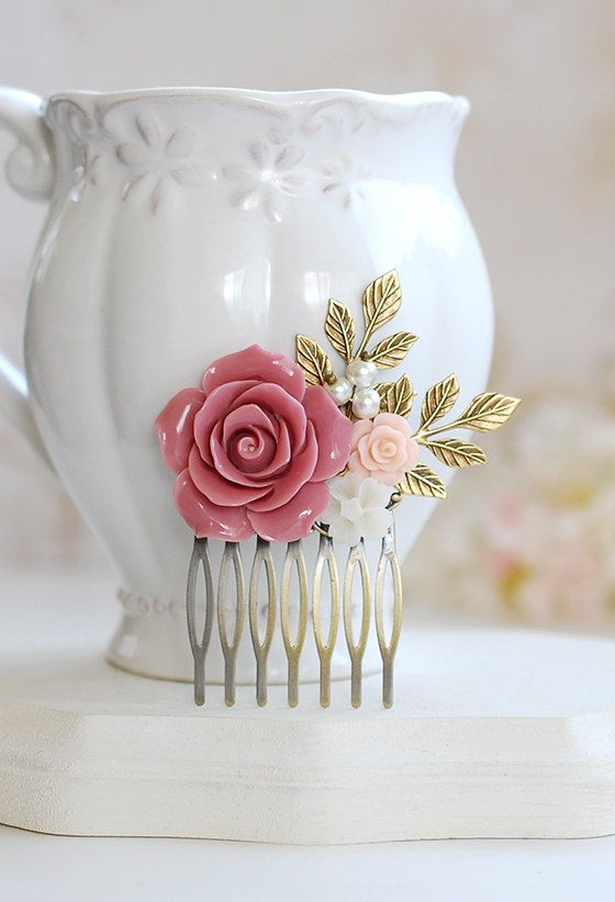 Dusty Pink Rose Flower Hair Comb Ivory Powder Pink by LeChaim