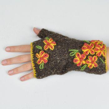 Flowerpatch Fleece Lined Wool Fingerless Mittens