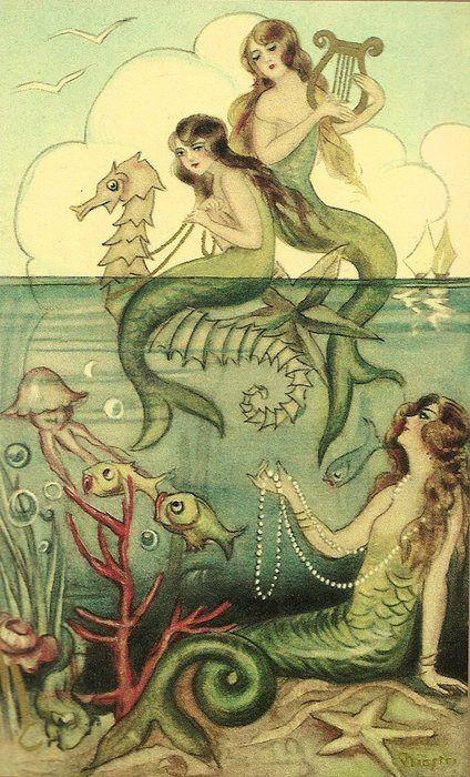 vintage illustration of mermaid sisters: Vintage Postcards, Iphone Wallpapers, Iphone Backgrounds, Vintage Illustrations, Mermaids Nurseries, Mermaids Illustrations, Vintage Mermaids, Mermaids Art, Mermaids Bathroom