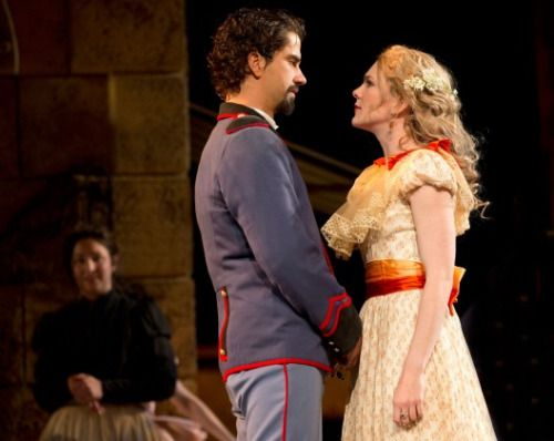 Hamish Linklater and Lily Rabe in Much Ado About Nothing. Photo by Joan Marcus.