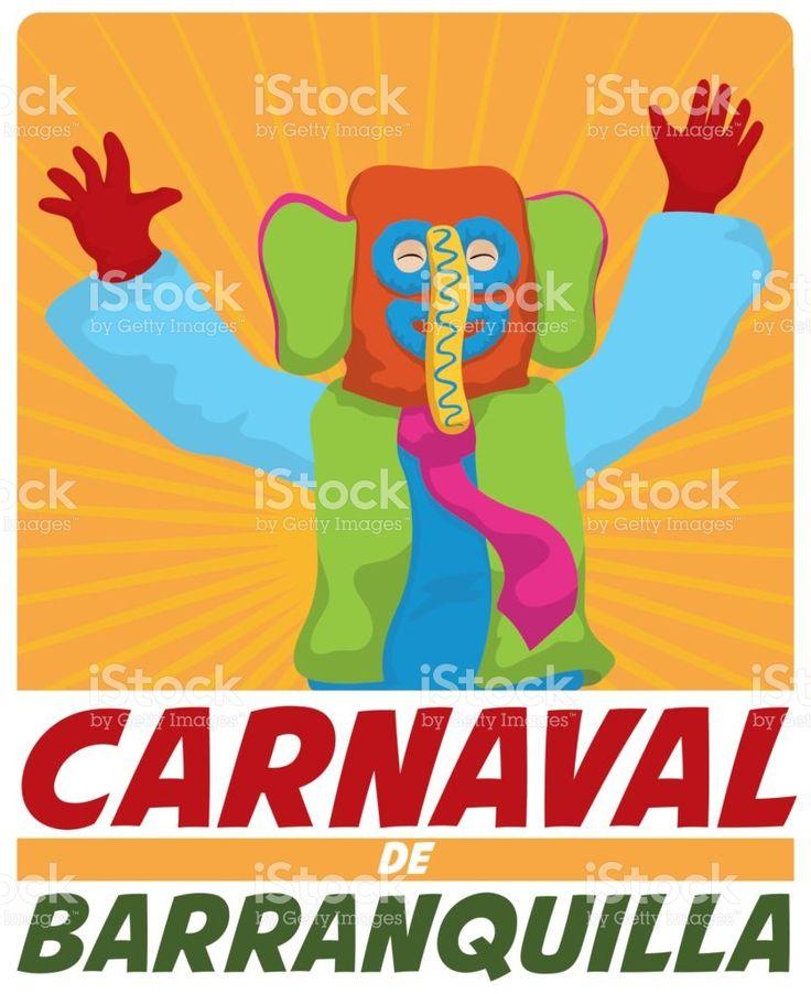 Happy Colorful Marimonda Celebrating in Barranquilla's Carnival