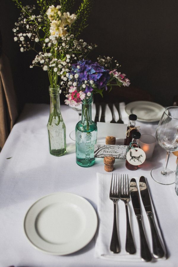 Quirky Vintage Country Pub Wedding Flowers Bottles http://www.emmalucyphotography.com/