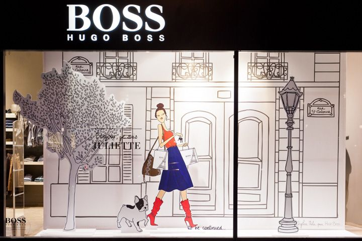 At fashion label Hugo Boss' store on Paris' Champs-Elysées, a designed communications campaign is based on two characters who meet and fall in love. The concept is currently on show in window displays, in-store installations and also used on Boss' website. It depicts the story of 'Juliette' and 'Louis,' showing their first encounter and rendezvous to discover Paris together.