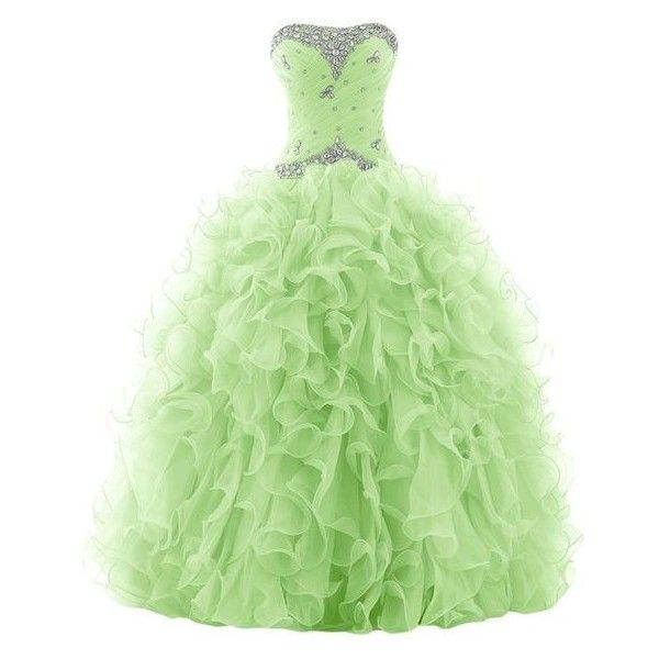 Sunvary 2015 Rhinestone Pleated Ball Gown Prom Dresses for Quinceanera ❤ liked on Polyvore featuring dresses, gowns, long gown, prom gowns, green prom dresses, green evening gown and long evening gowns