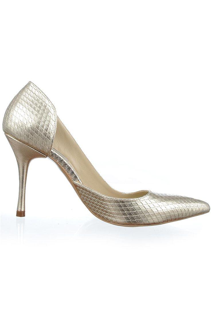 Pantofi cu toc piele aurie