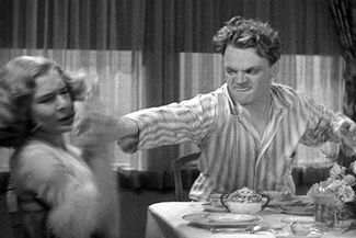A controversial scene in which Tom (James Cagney) angrily smashes a half grapefruit into his girlfriend's face (Mae Clarke).