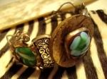 Murano glass , antique copper wire & coconut shell
