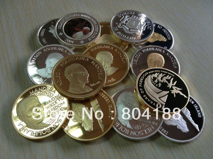 mix 9 design South africa Nelson Mandela gold and silver clad coins Robben island mandela coin