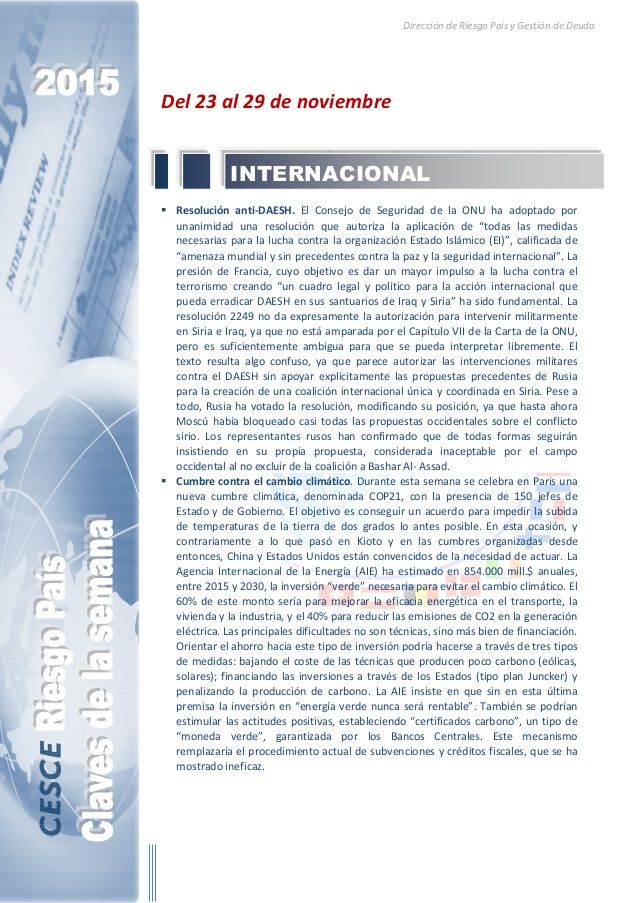 Resumen de las noticias internacionales más destacadas del 23 al 29 de noviembre de 2015, elaborado por el departamento de Riesgo País de CESCE