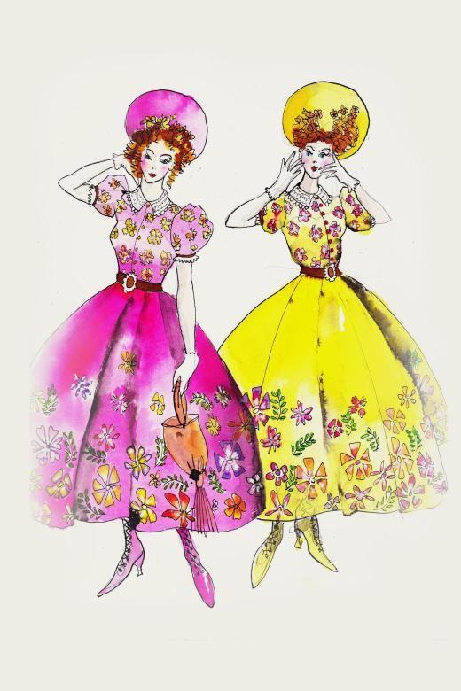 Hochnäsig und quietschbunt: Sandy Powells Skizze für die Kostüme der Stiefschwestern.