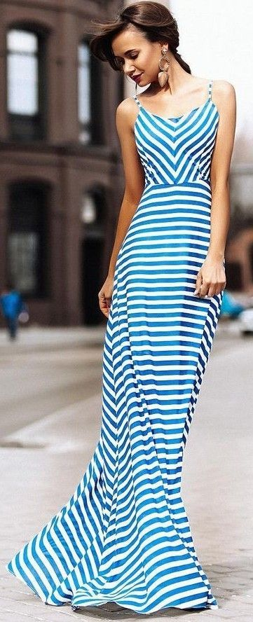 #summer #chic #feminine #style | Stripe Maxi Dress