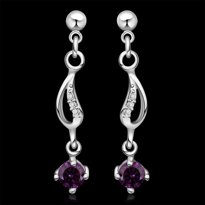 Серьги 925 серебряные серьги 925 серебряных фиолетовые серьги циркон женщин модные ювелирные изделия оптовая продажа бесплатная доставка когда бы LE513
