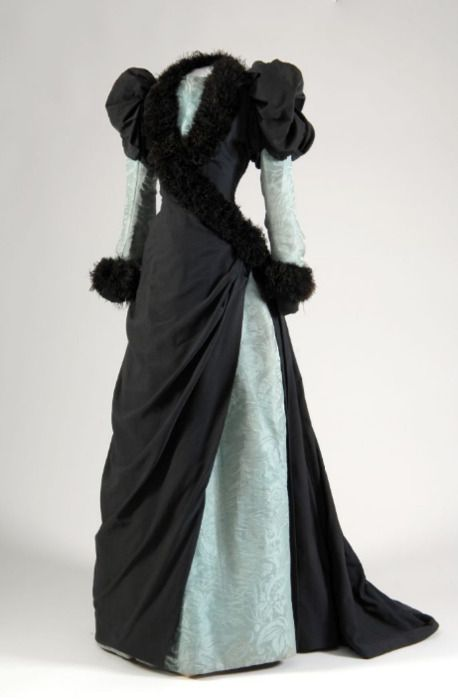 Afternoon dress ca. 18821880, Fashion History, C 1882, Circa 1882, Historical Clothing, Marabou Feathers, Afternoon Dresses, Historical Dresses, Vintage Clothing