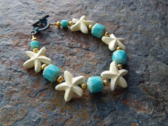 Starfish bracelet mermaid jewelry ceramic and by AJBcreations
