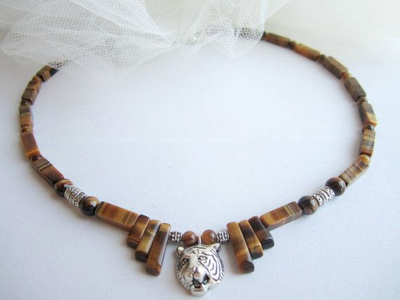 Men's tiger necklace men's stones beaded by Bravemenjewelry