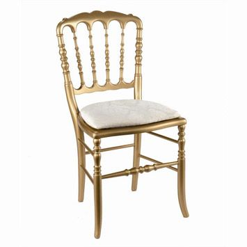 Gold Napoleon III chair (comes with white or gold cushion)