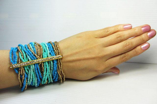 turquoise bead bracelet central diamond qt 336