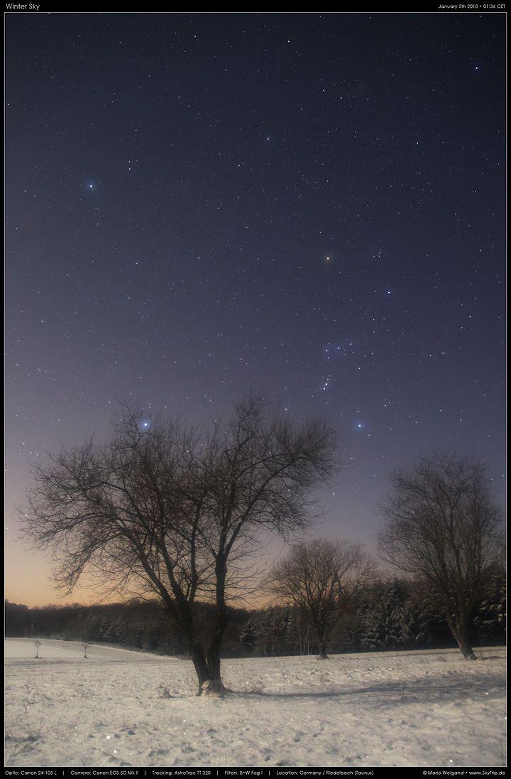 Sternbild Orion und Sirius