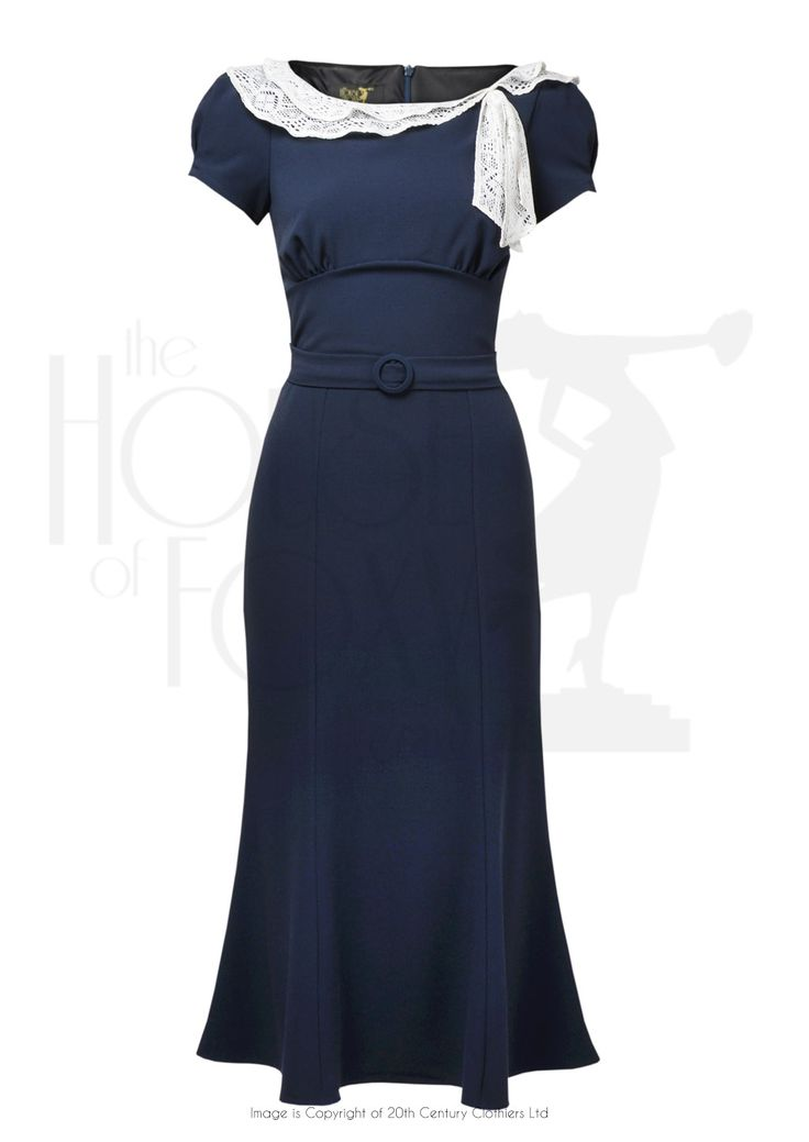 1930s Charm Dress - navy