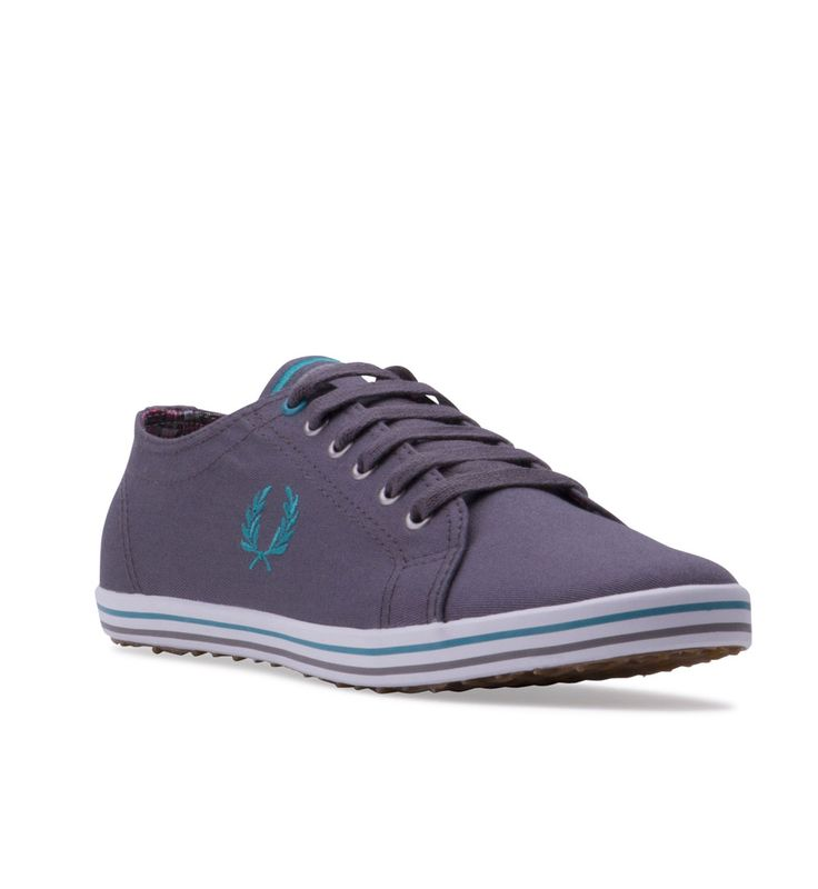 FRED PERRY Mens Kingston Canvas Plimsoll (B3176) Steel / Bright Lagoon - Classic plimsolls created in rich cotton twill canvas, featuring waxed cotton laces, smooth rubber soles and our signature Laurel Wreath embroidered on the side.