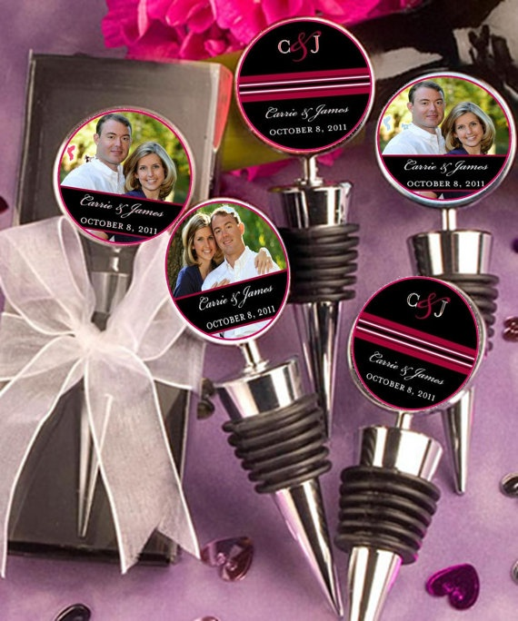 Wine Bottle Stoppers As Favors Can Personalize Them With Your Engagement Pic And Wedding