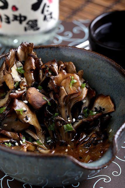 Roasted Maitake Mushrooms in Sesame-Miso Broth - Vegan