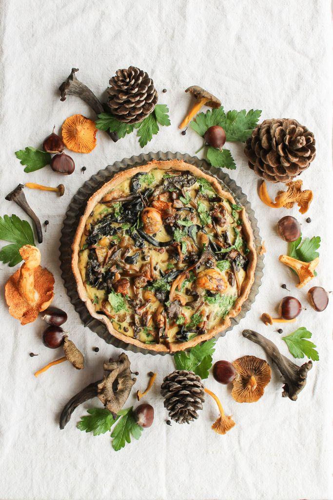 Tarte aux champignons des bois et marrons {sans lait} - aime & mange