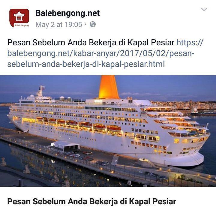 Artikel baru yg memuaskan dahagamu soal bekerja di kapal pesiar. Sejumlah paramuda Bali masih mengidamkannya.  Bisa diakses di web atau via page fb balebengong.net.