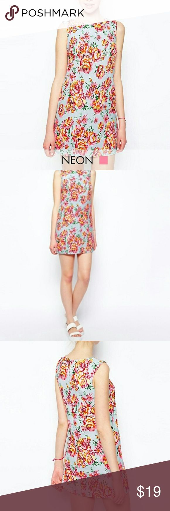 ❤ ASOS New Look Neon Floral Tunic Dress - UK Size 10= US Size 6  - Keyhole back.  - 95% Polyester. 5% Elastane.  - Worn one time. New Look Dresses