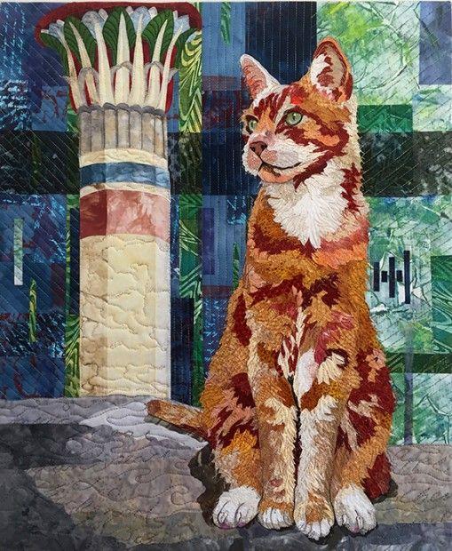 """Pi X 2"" cat portrait quilt by Barbara Yates Beasley"
