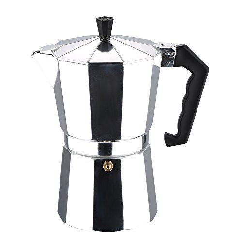 Vergleichen Aluminium Kaffeebereiter für bis zu 9 Tassen Kaffeemaschine Kaffeezubereiter Kaffeekocher (Inkl. 1 x zusätzlicher Silikonring / Dichtungsring  Farbe: silber/hochglanz) Preis