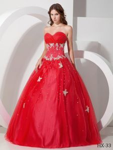 Red Ruched Sweetheart Sweet 16 Dress with Beads and Appliques