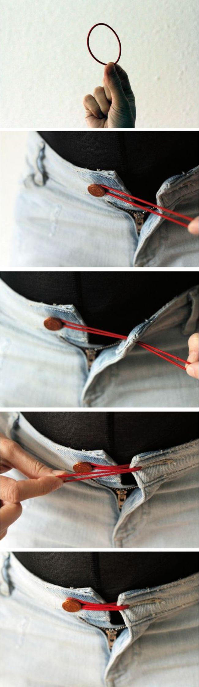 aproveitando calça jeans na gravidez com elástico de cabelo
