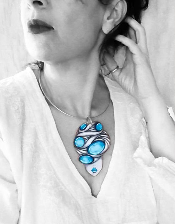 Paper Pendant  Paper jewelry  Paper Necklace  Hand by TheRollyS