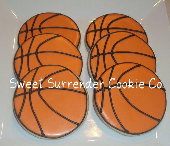 Basketball Decorated Sugar Cookies - One Dozen via Etsy