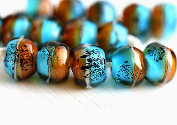 Blue and Topaz Lampwork beads set, Artisan beads by MayaHoney. Great combo in Boho Ethnic style for jewelry making.   #forsale #etsy #glass #handmade #homemade #shopping #handcrafted #jewelrymaking #lampwork #mayahoney #beads #boho
